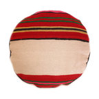 Baba Souk - Round Striped Ethnic Pillow - While wandering through Marrakesh and visiting the coolest riads, (which are traditional guesthouses usually decorated with great folkloric finds, the hippest places to stay when traveling to Marrakesh) I noticed a new trend, these wonderful pillows with colorful candy stripes! Since I am a huge fan of stripes I loved them instantly.