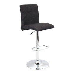 "Lumisource - Tintori Barstool, Charcoal - Overall: 20.5"" L x 16.25"" W x 40"" to 44.75"" H (Seat Height: 27.5"" to 32.25"") (Backrest: 14.5"" H) (Seat: 16.25"" L x 16.25"" W) (Top of seat to footrest: 17"")"