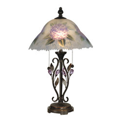 Dale Tiffany - Dale Tiffany TT10796 Hand Painted Purple Flower Table Lamp - Dale Tiffany TT10796 Hand Painted Purple Flower Table Lamp