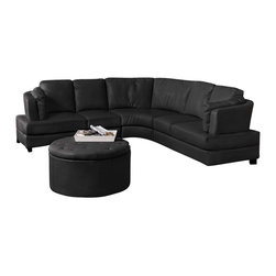 Coaster - Coaster Landen Contemporary Curved Leather Sectional in Black - Coaster - Sectionals - 503106 - With its contemporary curved design this sectional sofa is sure to make a statement in any room. High track arms and solid wood feet are clean and crisp while a curved wedge adds a soft touch. Bonded leather seats offer a high-quality look and feel perfect for your family room or home entertainment area. Relax with family and friends on this functional and fashionable sectional sofa. Armless chair available for extended length on one side.