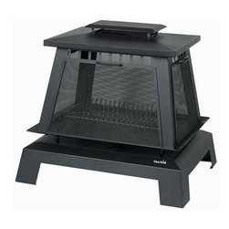 Char-Broil - Trentino Deluxe Fireplace Black - Trentino Deluxe Fireplace with Gloss Black Porcelain enamel  Steel stand  Fine mesh screens provide view of fire from all sides. Includes 2 removable screen doors for easy access to fire  Built-in log grate elevates firewood and improves burning  Accommodates standard size fire logs  Includes fire poker.   .