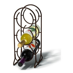 Spectrum Diversified - Spectrum Horseshoe 3 Bottle Wine Rack - Venetian Bronze - 38624 - Shop for Wine Bottle Holders and Racks from Hayneedle.com! The Spectrum Horseshoe 3 Bottle Wine Rack has metal construction with Venitian Bronze finish for a golden tone. This wine rack holds up to 3 wine bottles in vertical formation. Decorative with arched top its stylish and eye-catching. You can place this wine rack on the floor or your countertop. Dimensions: 6.75L x 5.5W x 14.75H inches. About Spectrum Diversified DesignsSpectrum Diversified Designs based out of Cleveland Ohio operates out of a 130 000 square foot distribution center and provides services to nearly every continent on the globe. With a specialized team of experts in art design and logistics Spectrum consistently provides top-quality products that are functional attractive and cost-effective. Spectrum is dedicated to providing you with only the best in home accessories. From the kitchen to the bath and all in between you'll find exactly what you need for all of your home needs. The possibilities are endless.