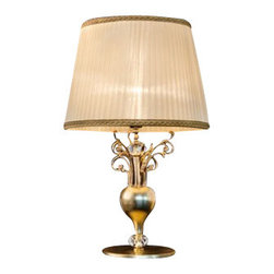 """Masiero - Masiero 6015/6016 TL1 Table Light - The 6015/6016 TL1 Table Light is part of a collection of High End light fixtures designed by Studio Stile Masiero in Italy for Masiero. This table lamp is a beautiful and harmonious piece that brings to classicism and modernism a new perspective. 6015/6016 TL1 table lamp is an elegant light fixture available in two sizes consisting of a base and a metal rod enriched with brass fusion decorations in gold-plated finish. A candle-light that sits on the superior side of the rod is covered by a delicate ivory colored Pong� lampshades which is optional. This is a stylish and contemporary table lamp that will light up any environment. Illumination is provided by E27 100W Incandescent bulb (not included).      Product Details: The 6015/6016 TL1 Table Light is part of a collection of High End light fixtures designed by Studio Stile Masiero  in Italy for Masiero. This table lamp is a beautiful and harmonious piece that brings to classicism and modernism a new perspective. 6015/6016 TL1 table lamp is an elegant light fixture   available in two sizes consisting of a base and a  metal rod  enriched with brass fusion decorations in  gold-plated finish. A candle-light that sits on the superior side of the rod is covered by a delicate    ivory colored Pong� lampshades   which is optional.   This is a stylish and contemporary table lamp that will light up any environment. Illumination  is provided by  E27 100W Incandescent    bulb (not included). Details:                         Manufacturer:            Masiero                            Designer:            Studio Stile Masiero                            Made in:            Italy                            Dimensions:                        Small: P: Height: 12.6""""(32cm) X Diameter: 6.3""""(16cm)             Large: G: Height: 25.6""""(65cm) X Diameter: 15.7""""(40cm)                                         Light bulb:                        Small: P: E14, 1x60W Incandescent bulb (not included)   """
