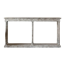 Eloquence Inc - Gustav Console - Nice and narrow Eloquence Gustav Console in Oak Driftwood finish.  So streamlined and loaded with Scandinavian carved leaf accents.  A piece of understated elegance.