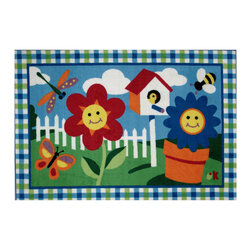 """Fun Rugs - Happy Flowers Olive Kids Collection Rug - 39"""" x 58"""" - This colorful rug has happy flowers design Collection Name: Olive Kids; 100% Nylon Dimensions: 39"""" x 58"""""""