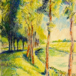 Tree-Lined Path, C. 1950, Artwork - Original, one of a kind pastel drawing of bright, sun-drenched trees lining an inviting country pathway, circa 1950.