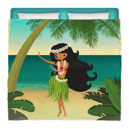 "Surfer Bedding - Eco Friendly ""Hula Girl On The Beach"" Made In USA Premium King Duvet Cover - ""Hula Girl On The Beach"" Surfer Bedding Is Premium Quality and Made In The USA!"