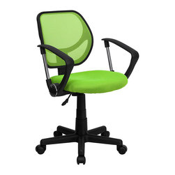 Flash Furniture - Flash Furniture Mid Back Mesh Task Chair with Arms in Green - Flash Furniture - Office Chairs - WA3074GNAGG - This ventilated mesh computer chair will give you the comfort you desire throughout the day. If you are looking for a sleek functional chair for your work or home office a mesh office chair may be right for you. Chair features a breathable mesh back with a comfortably padded seat.