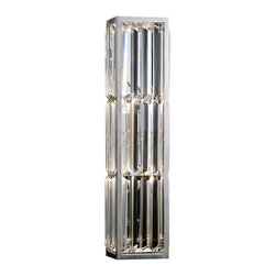 Fine Art Lamps - Crystal Enchantment Sconce, 811250ST - Echoes of art deco ripple through this stunning wall sconce. The metal frame is silver-leafed and fitted with panels of multifaceted crystal that twinkle and refract the light, adding an understated touch of glamour to your home.