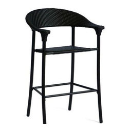 Woodard Barlow Stationary Bar Stool - Our All Weather Wicker Barlow Bar Stool by WoodardWicker Bar Chair
