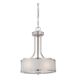 Nuvo Lighting - Fusion Three Light Pendant With Frosted Glass In Brushed Nickel Finish - Fusion - 3 Light Pendant w/ Frosted Glass