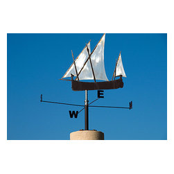 Custom Photo Factory - Close-Up of Decorative Sailboat Weathervane Canvas Wall Art - Close-Up of Decorative Sailboat Weathervane  Size: 20 Inches x 30 Inches . Ready to Hang on 1.5 Inch Thick Wooden Frame. 30 Day Money Back Guarantee. Made in America-Los Angeles, CA. High Quality, Archival Museum Grade Canvas. Will last 150 Plus Years Without Fading. High quality canvas art print using archival inks and museum grade canvas. Archival quality canvas print will last over 150 years without fading. Canvas reproduction comes in different sizes. Gallery-wrapped style: the entire print is wrapped around 1.5 inch thick wooden frame. We use the highest quality pine wood available. By purchasing this canvas art photo, you agree it's for personal use only and it's not for republication, re-transmission, reproduction or other use.