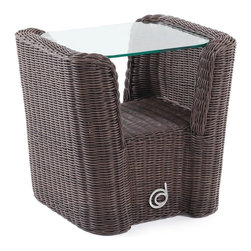 Domus Ventures - Domus Ventures Fiji Side Table Multicolor - 670462 - Shop for Tables from Hayneedle.com! Introduce a fresh unique shape to your outdoor living space with the Fiji Side Table. A low shelf cradles display or service items partially protecting them against wind. The glass top seems to float and is always at the ready to hold drinks and more. The neatly woven wicker is done by hand of a weather-proof material called Abaco XF. UV rays moisture and extreme temperatures are no problem for space-age high-density polyethylene a recyclable material that's easy to clean and resists dirt and stains. A weatherproof aluminum frame is the unseen force holding this piece together. Assembly required.About Domus Ventures Pte. Ltd.Established in 1997 Domus Ventures is a German-owned manufacturer that has grown into a dominant global player in the furniture industry. Exporting over 1 600 containers annually each design and each piece is subjected to the highest level of scrutiny ensuring the company's commitment to excellence. Often using materials such as teak natural wicker loom paper fiber and resin wicker Domus Ventures is always exploring and testing new materials to find beautiful and sustainable high-quality designs while striving to produce unique modern and contemporary furniture that creates the perfect setting for your home and lifestyle whatever your taste budget or needs might be. Despite their growth into a company that employs over 2 200 factory and office staff in China Indonesia Singapore Germany and the United States Domus Ventures prides itself not just on its products but also on its ethical production which includes decent worker benefits and compensation as well as ecofriendly green initiatives.