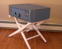 Suitcase Table With Drawer by Destinations Vintage - This repurposed suitcase side table looks like the perfect place to store a passport — and if you're like me, tissues and lip balm and a few random action figures.