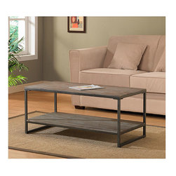 None - Elements Grey/Brown Coffee Table with Shelf - Offering the look of reclaimed wood, this Elements coffee table has a weathered grey/brown oak finish. This table features non-mar foot glides and a storage shelf.