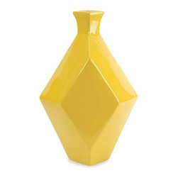 "IMAX - Chantal Large Yellow Ceramic Vase - The Chantal large yellow vase incorporates a geometric shape and canary shade that adds a contemporary boldness to any room! Item Dimensions: (15.75""h x 10.25""w x 7.25"""