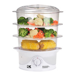 Kalorik - Kalorik 3 Tier Food Steamer - Steaming is a healthy and easy way to prepare a variety of foods! With a generous 9 1/2 total quart capacity, this electric three-tier food steamer comes in handy for cooking healthy dinners at home. The unit provides a rice bowl and three stackable transparent baskets that make it possible to steam three different types of food simultaneously. Other highlights include a turbo steam feature that starts cooking within seconds, a drip tray for collecting liquid, as well as stay-cool handles. The water level can be checked at any time, and refill is easy even in the middle of steaming process: just add water through the side handles! Best of all, the steamers removable parts clean up easily by hand or in the dishwasher, and the base wipes clean with a damp cloth.