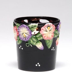 "ATD - 2.5"" Black Votive Glass Cup Candle Holder with Colored Flower Design - This gorgeous 2.5"" Black Votive Glass Cup Candle Holder with Colored Flower Design has the finest details and highest quality you will find anywhere! 2.5"" Black Votive Glass Cup Candle Holder with Colored Flower Design is truly remarkable."