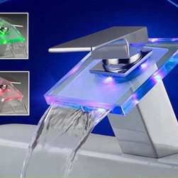 Glass Waterfall LED Bathroom Sink Faucet L-2012 - Features: