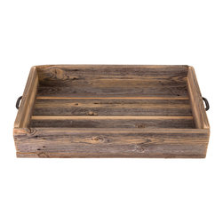 (del)Hutson Designs - Reclaimed Wood Serving Tray With Metal Handles - These are made 100% out of reclaimed wood. Each item we make is hand crafted by a person. We sand these to a find finish. Every smooth to touch.