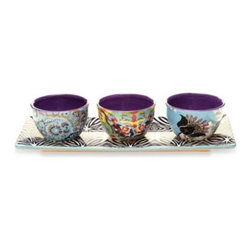 Tracy Porter - Tracy Porter 4-Piece Serving Set for Poetic Wanderlust in Rose Boheme - Rose Boheme designed by Tracy Porter for Poetic Wanderlust is a whimsically inspired and engaging collection that blends the modern and the soulful. The exuberant color and eye-catching patterns of the Rose Boheme style will delight any table.