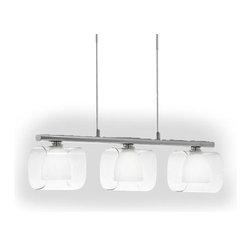 Eglo Lighting - Lou 90189 - Pendant Lamp | Eglo - Eglo Lighting Lou 90189�Pendant Lamp features�3 white and clear glass lamps�. Manufacturer:�Eglo LightingSize:�20.5 in. length x 46.5 in. max height Light Source:�3 x 40 watt G9 lamp - included Certifications: ETL Location: Dry