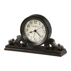HOWARD MILLER - Bishop Decorative Alarm Clock - This decorative metal and wood alarm clock features an aged, off-white dial and has aged black Arabic numerals and black hands beneath a convex glass crystal.