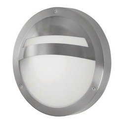Eglo - Eglo 88109A 1 Light Wall Sconce Sevilla Collection - Eglo 88109A Sevilla 1 Light Wall SconceReminiscent of the trendy designs of the past, this wall sconce from the Sevilla Collection has a unique Circle Shaped White Frosted Glass shade with Stainless Steel banded accents. A unique piece that will bring a touch of class to any application.Eglo 88109A Features: