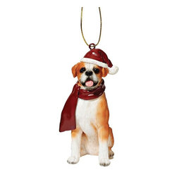 """EttansPalace - Boxer Holiday Dog Ornament Sculpture - With a festive Santa hat and red scarf, this adorable Boxer dog ornament has neither a """"bark"""" nor a """"bite"""" worth worrying over! Our Boxer dog ornament is realistically sculpted, cast in quality designer resin and hand painted for the """"discriminating dog lover"""". The perfect canine gift for Boxer dog aficionados and a fun way to include your pets in holiday decorating! Approx. 2.5""""W x 1.5""""D x 3.5""""H. .5 lb."""