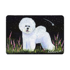 Caroline's Treasures - Bichon Frise Kitchen or Bath Mat 24 x 36 - Kitchen or Bath Comfort Floor Mat This mat is 24 inch by 36 inch. Comfort Mat / Carpet / Rug that is Made and Printed in the USA. A foam cushion is attached to the bottom of the mat for comfort when standing. The mat has been permanently dyed for moderate traffic. Durable and fade resistant. The back of the mat is rubber backed to keep the mat from slipping on a smooth floor. Use pressure and water from garden hose or power washer to clean the mat. Vacuuming only with the hard wood floor setting, as to not pull up the knap of the felt. Avoid soap or cleaner that produces suds when cleaning. It will be difficult to get the suds out of the mat.