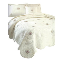 Pem America - Trousseau King Quilt Set in Ivory - Carefully handcrafted pre-washed cotton shell king quilt with 2 pillow shams to fit standard size pillows (20 x 26 inch) in Ivory tone with 1 color coordinated decorative square throw pillow. This 90 x 100 inch beautiful king quilt features decorative quilt pattern, floral embroidery  and scalloped edges.