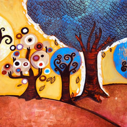 Murals Your Way - Unfurling Wonderland Wall Art - Five trees create a small forest wonderland in this wall mural