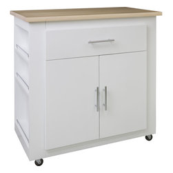 Hardware Resources - White Elements Island  with preassembled wood top Painted White - This 36 x 20 x 36  island is manufactured out of MDF.  This small island features one working drawer and a large cabinet with adjustable shelf.  The drawer is equipped with full extension slides and the cabinet hinges have a softclose assembly.  Wood top preassembled. Soft rubber casters included.  The included decorative hardware can be found in the Elements Naples Collection (176 & 156).