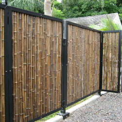 Black Bamboo Fencing - Black Bamboo Fencing is great for traditional yard enclosure, you can also use it to cover chain link, cement walls and so much more! Great for privacy screen around a hot tub or a wind break on your deck. Works well for interior wall covering and can be attached to any ceiling!