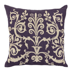 Bari Plum Pillow - Beautifully handmade and hand woven, each pillow is made with a quality fill of 95% feather and 5% down. The Villa Home collection offers a variety of colors, textures and accents that will add a feeling of luxury to your home. The Bari pillow is 50% Cotton and 50% Linen.