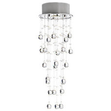 Bathroom Lighting And Vanity Lighting Floating Bubble Crystal and Chrome Flush Mount Chandelier