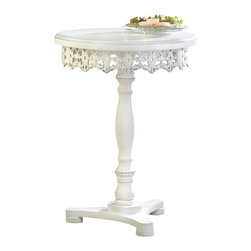 KOOLEKOO - Flourish Pedestal Table - Just say no to boring tables! Add dramatic flair to your home with this table's shabby chic finish that perfectly highlights the decorative cutwork around the base of the tabletop.