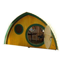 Wooden Wonders - Big Merry Hobbit Hole  base kit plus live edge cedar clapboard roofing - A playhouse with a pedigree, this fairy tale Hobbit© Hole is fun, finely crafted and full of possibility. Encourage imaginative play, enjoy a camping hut  or use it as an office space! Handcrafted by a Maine family of natural pine lumber, parents and kids will love this adorable abode. This kit includes live edge cedar clapboard roofing.