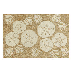 """Trans-Ocean Inc - Shell Toss Natural 24"""" x 36"""" Indoor/Outdoor Rug - Richly blended colors add vitality and sophistication to playful novelty designs. Lightweight loosely tufted Indoor Outdoor rugs made of synthetic materials in China and UV stabilized to resist fading. These whimsical rugs are sure to liven up any indoor or outdoor space, and their easy care and durability make them ideal for kitchens, bathrooms, and porches; Primary color: Natural;"""