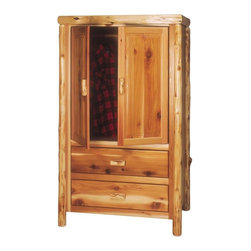 Fireside Lodge Furniture - Cedar 2 Drawer Wardrobe w Hanging Rod in Lacq - Choose Line: ValueCedar Collection. 2 Drawers. Comes with hanging rod behind door. 9 in. Deep dovetailed drawers for extra storage space. All hinges are concealed European Style for a clean, uncluttered look. Northern White Cedar logs are hand peeled to accentuate their natural character and beauty. Clear coat catalyzed lacquer finish for extra durability. Drawers bottoms:. Premium: Aromatic Cedar drawer bottoms and full-extension ball-bearing glides rated at 100 lbs.. Value: standard drawer bottoms and nylon roller glides rated at 100 lbs.. 2-Year limited warranty. 44 in. W x 26 in. D x 72 in. H (190 lbs.). Inside cabinet: 34 in. W x 24 in. D x 38 in. H