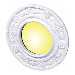 The Renovators Supply - Spot Light Trim White Urethane Recess Light Trim 4 ID x 8 OD | 16479 - Recessed Lighting Trim: Made of virtually indestructible high-density urethane our spotlight rings are cast from steel molds guaranteeing the highest quality on the market. High-precision steel molds provide a higher quality pattern consistency, design clarity and overall strength and durability. Lightweight they are easily installed with no special skills. Unlike plaster or wood urethane is resistant to cracking, warping or peeling.  Factory-primed our spotlight rings are ready for finishing and enhance any ceiling light fixture. Features exquisite honeysuckle design. 4 inch diameter