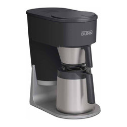 BUNN Products - Velocity Brew 10-Cup Thermal Home Brewer - Airpot can hold up to 3 liters. Double wall, vacuum insulated thermal carafe keeps coffee warm for up to 2 hours. Unique spray head ensures complete coffee flavor extraction. Stainless steel internal hot water tank keeps water heated to optimal brewing temperature of 200� F. Brews four to ten cups or 20 to 50 ounces in about four minutes. 850 watts. Warranty: Three years limited for parts and labor
