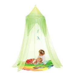 Silk Fantasy Bowers - When I was a kid, my favorite thing to do was build forts from blankets, or branches outside. This canopy combines the best of both, with a lot less fuss.