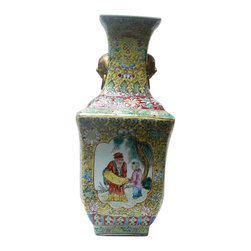 """Golden Lotus - Chinese Yellow Base Canton Famille Porcelain Vase - Dimensions: 6.75"""" x 6.75""""x h15.5"""""""