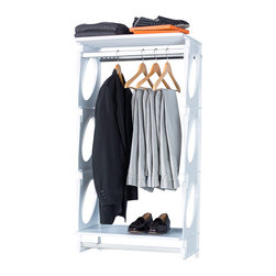 KiO - KIO 5' Closet & Shelf System, White - KiO's Closet in a Box is the organizer's favorite shelving system for easy to install, incredible strength and revolutionary design. The KiO kit requires no cutting tools, includes adjustable hanging rods and can be installed in as little as 20 minutes. Add extra shelves to your kit with the purchase of KiO 2-pack Shelf Bundle.