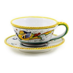 """Artistica - Hand Made in Italy - Raffaellesco: Large """"Caffe' Latte"""" Cup and Saucer Set - Raffaellesco Collection: Among the most popular and enduring Italian majolica patterns, the classic Raffaellesco traces its origin to 16th century, and the graceful arabesques of Raphael's famous frescoes."""