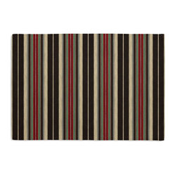 Dark Brown, Red & Mint Stripe Custom Placemat Set - Is your table looking sad and lonely? Give it a boost with at set of Simple Placemats. Customizable in hundreds of fabrics, you're sure to find the perfect set for daily dining or that fancy shindig. We love it in this woven cotton stripe of blackish brown, mint green, white & red. modern color meets traditional style.