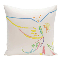 e by design - Butterfly White 20-Inch Cotton Decorative Pillow - - Decorate and personalize your home with coastal cotton pillows that embody color and style from e by design  - Secondary Colors: Green and Blue  - Fill Material: Synthetic down  - Closure: Concealed Zipper  - Care Instructions: Spot clean recommended  - Made in USA e by design - CPO-GH19-Mariposa_White-20