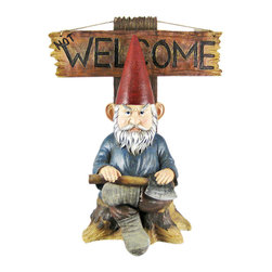Zeckos - Go Away Garden Gnome Un-Welcome Garden Statue - This incredibly cool garden gnome lawn / garden statue can help your neighbors, mailman, salesmen etc. understand that you just want to be alone. One side of the sign reads 'Not Welcome', and the other side simply says 'Go Away'. The figure measures 15 inches tall, 12 1/2 inches wide and 7 inches deep. Made of extremely durable bonded marble resin, this figure is fade and breakage resistant. This cute statue makes a great gift for family and friends.