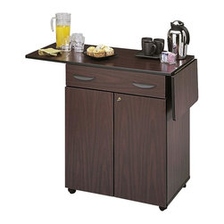 Safco - Hospitality Service Cart in Mahogany Finish - 80% recycled secondary wood waste. No post consumer. Four 2 in. dual wheel casters with two locking for easy mobility. Features lock with two keys. Material Thickness: 0.75 in.. Shelf Adjustability: 2.5 in.. Weight Capacity: 30 lbs. (Adjustable Shelf), 40 lbs. (Bottom Shelf), 40 lbs. (Top), 10 lbs. (Drawer), 15 lbs. (Drop Leaves), 260 lbs. (Total). Made from  furniture grade particleboard. Laminate finish. Drawer: 27.5 in. W x 18.25 in. D x 5 in. H. Top Surface: 32.5 in. W x 20.5 in. D. Inside: 28.5 in. W x 18.75 in. D x 27.5 in. H. Overall: 32.5 in. -  56.25 in. W x 20.5 in. D x 38.75 in. H (106 lbs.). Assembly InstructionFrom the breakroom to the boardroom, Safco's Hospitality Service Carts are the perfect answer to accommodate them all! Because it's mobile it moves easily from the kitchen and breakroom to virtually anywhere! Use it during brainstorming sessions, tense meetings or just to make visitors feel welcomed!